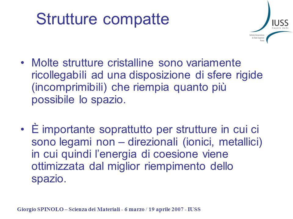 Giorgio SPINOLO – Scienza dei Materiali - 6 marzo / 19 aprile 2007 - IUSS Strutture compatte Molte strutture cristalline sono variamente ricollegabili