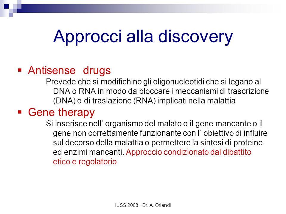 IUSS 2008 - Dr. A. Orlandi Approcci alla discovery Antisense drugs Prevede che si modifichino gli oligonucleotidi che si legano al DNA o RNA in modo d
