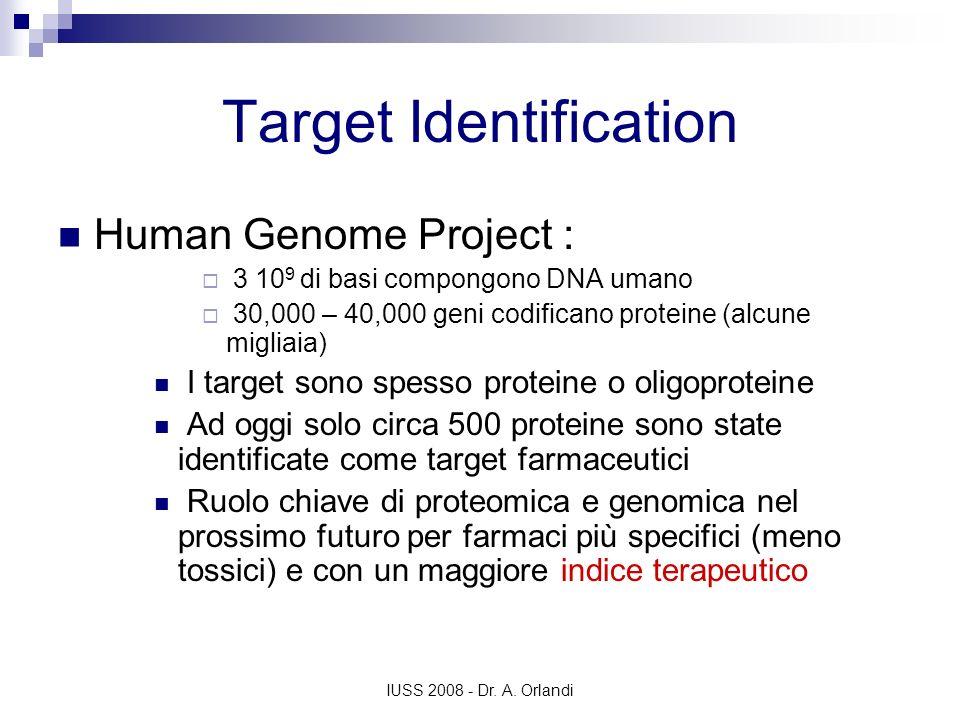 IUSS 2008 - Dr. A. Orlandi Target Identification Human Genome Project : 3 10 9 di basi compongono DNA umano 30,000 – 40,000 geni codificano proteine (