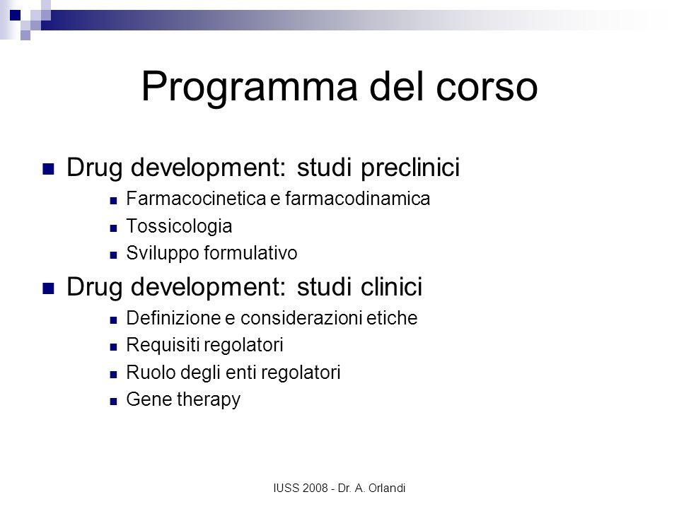 IUSS 2008 - Dr. A. Orlandi Programma del corso Drug development: studi preclinici Farmacocinetica e farmacodinamica Tossicologia Sviluppo formulativo
