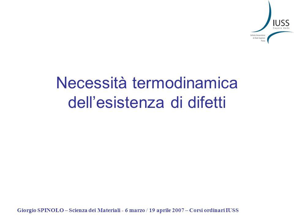 Giorgio SPINOLO – Scienza dei Materiali - 6 marzo / 19 aprile 2007 – Corsi ordinari IUSS Necessità termodinamica dellesistenza di difetti