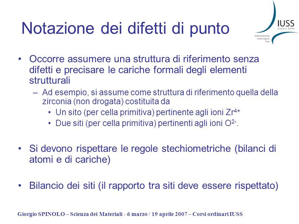 Giorgio SPINOLO – Scienza dei Materiali - 6 marzo / 19 aprile 2007 – Corsi ordinari IUSS Notazione dei difetti di punto Occorre assumere una struttura