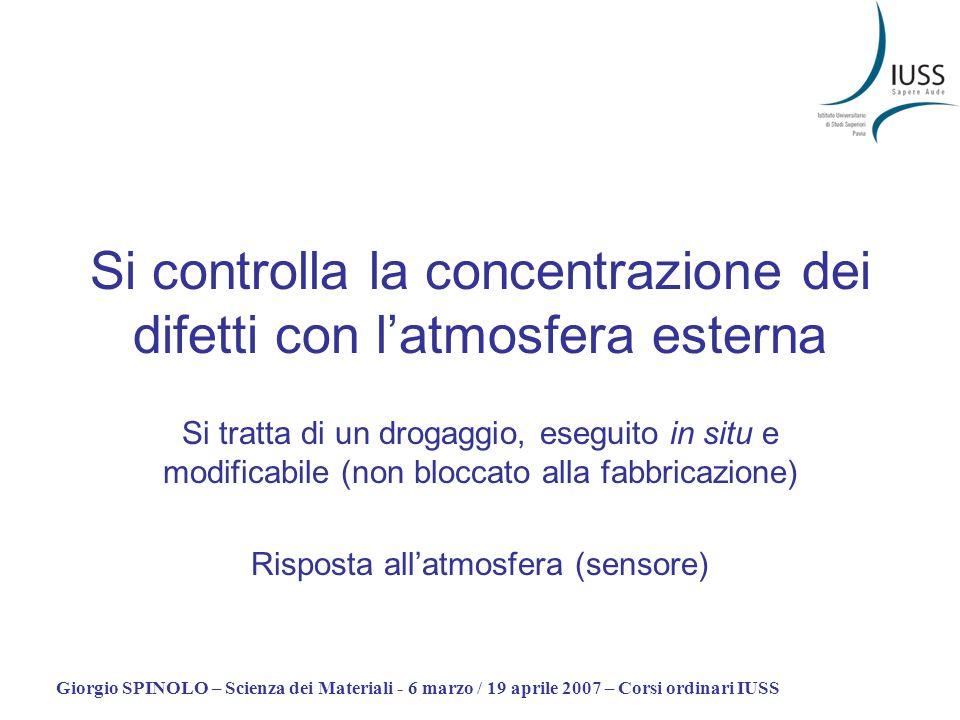 Giorgio SPINOLO – Scienza dei Materiali - 6 marzo / 19 aprile 2007 – Corsi ordinari IUSS Si controlla la concentrazione dei difetti con latmosfera est