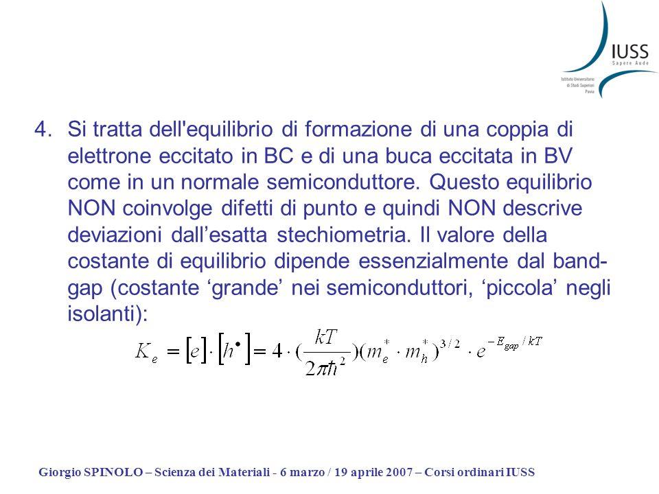 Giorgio SPINOLO – Scienza dei Materiali - 6 marzo / 19 aprile 2007 – Corsi ordinari IUSS 4.Si tratta dell'equilibrio di formazione di una coppia di el