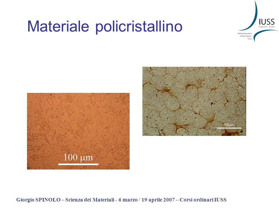 Giorgio SPINOLO – Scienza dei Materiali - 6 marzo / 19 aprile 2007 – Corsi ordinari IUSS Materiale policristallino