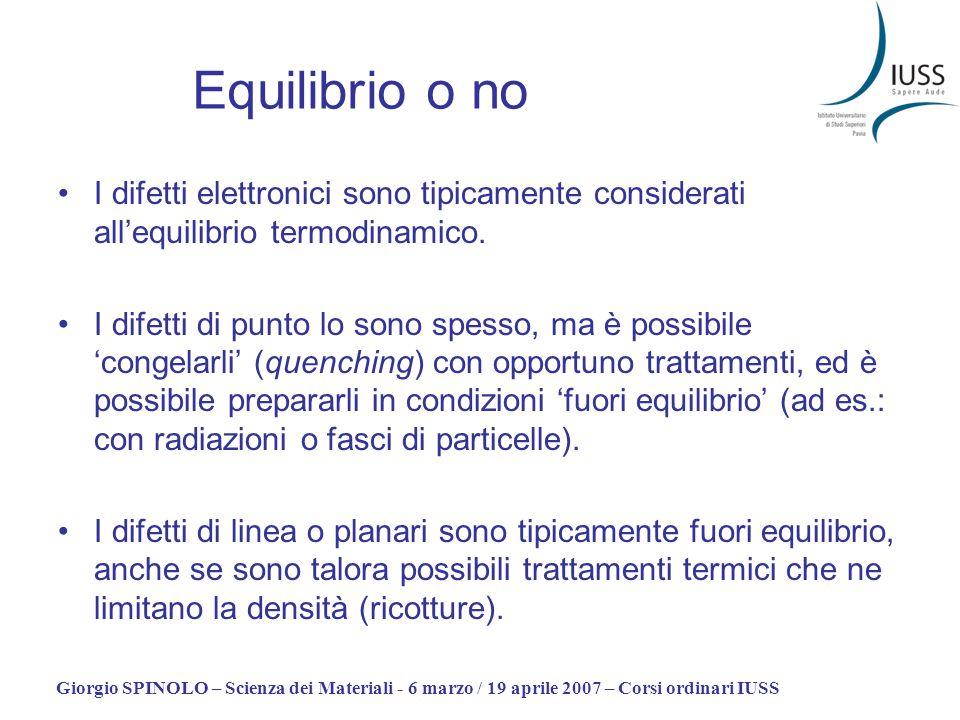 Giorgio SPINOLO – Scienza dei Materiali - 6 marzo / 19 aprile 2007 – Corsi ordinari IUSS Equilibrio o no I difetti elettronici sono tipicamente consid