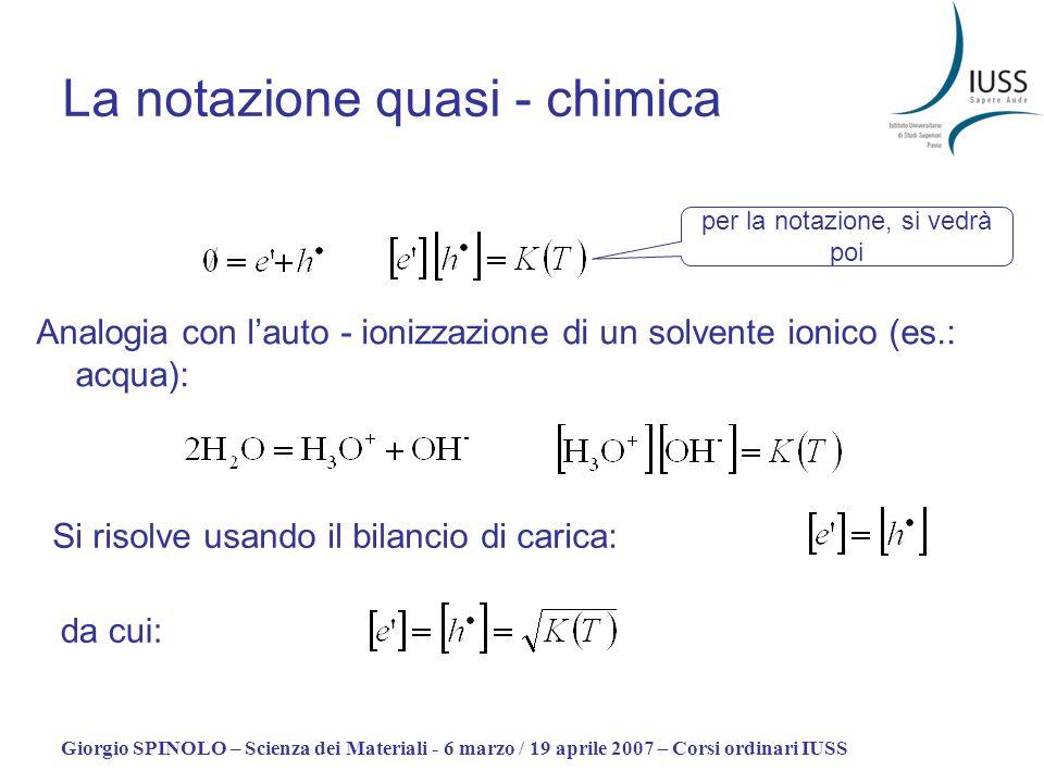 Giorgio SPINOLO – Scienza dei Materiali - 6 marzo / 19 aprile 2007 – Corsi ordinari IUSS La notazione quasi - chimica Analogia con lauto - ionizzazion