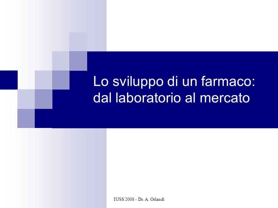 IUSS 2008 - Dr. A. Orlandi Lo sviluppo di un farmaco: dal laboratorio al mercato