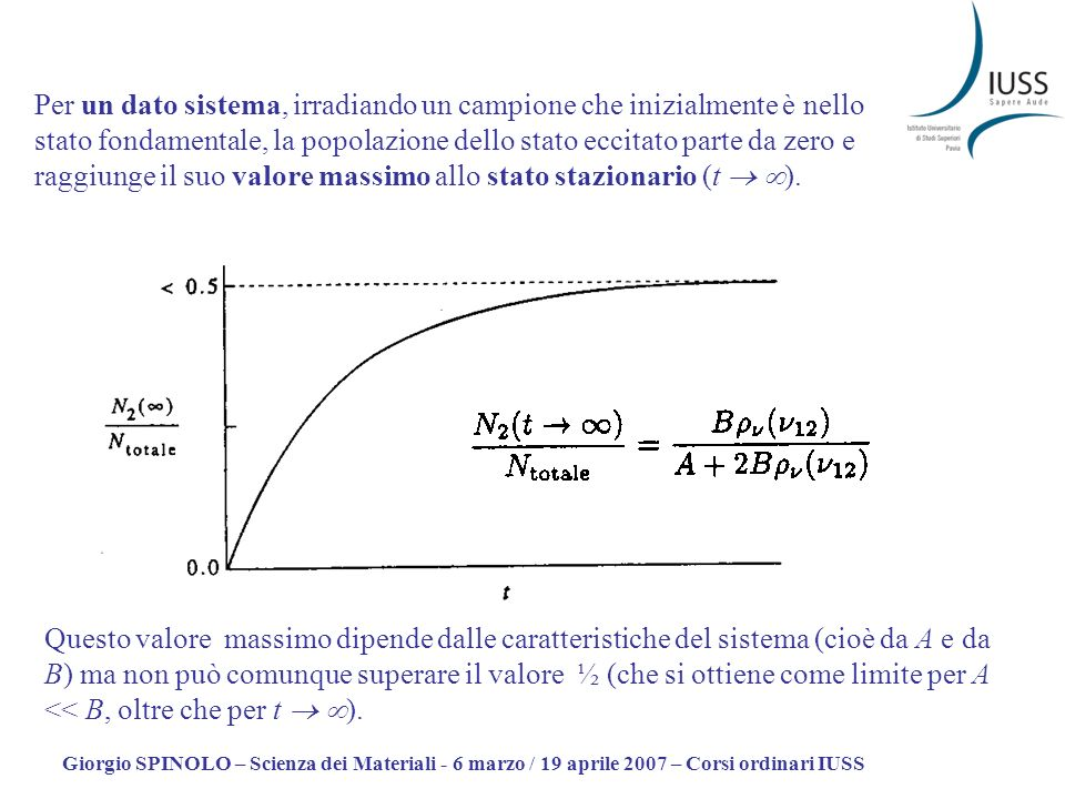 Giorgio SPINOLO – Scienza dei Materiali - 6 marzo / 19 aprile 2007 – Corsi ordinari IUSS Questo valore massimo dipende dalle caratteristiche del sistema (cioè da A e da B) ma non può comunque superare il valore ½ (che si ottiene come limite per A << B, oltre che per t ).
