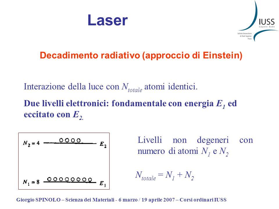 Giorgio SPINOLO – Scienza dei Materiali - 6 marzo / 19 aprile 2007 – Corsi ordinari IUSS Laser Decadimento radiativo (approccio di Einstein) Interazione della luce con N totale atomi identici.