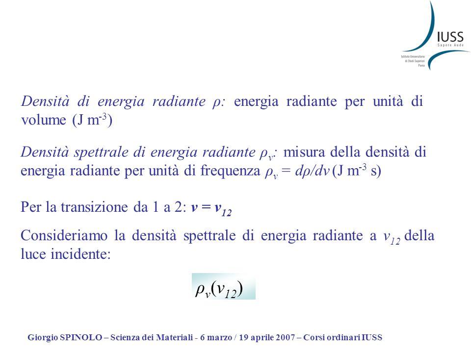Giorgio SPINOLO – Scienza dei Materiali - 6 marzo / 19 aprile 2007 – Corsi ordinari IUSS Tasso di eccitazione dallo stato fondamentale allo stato elettronico eccitato: B 12 è detto coefficiente di Einstein