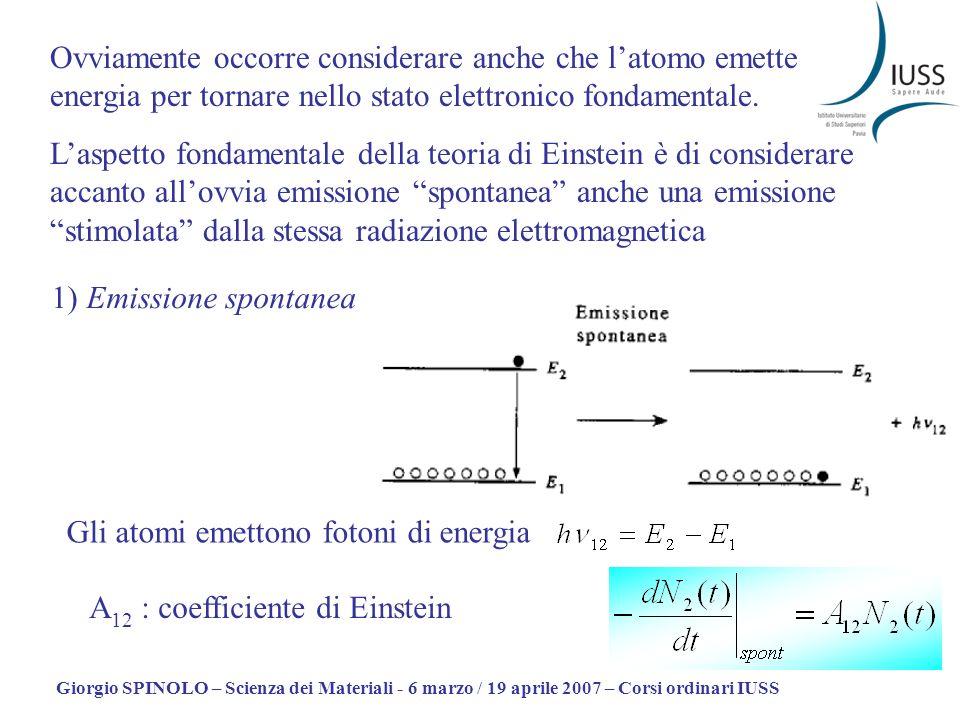 Giorgio SPINOLO – Scienza dei Materiali - 6 marzo / 19 aprile 2007 – Corsi ordinari IUSS 2) Emissione stimolata Per un atomo in stato elettronico eccitato esposto a radiazione em di energia h = E – E, il tasso di emissione stimolata è: B 21 è un coefficiente di Einstein (non necessariamente uguale a B 12 )