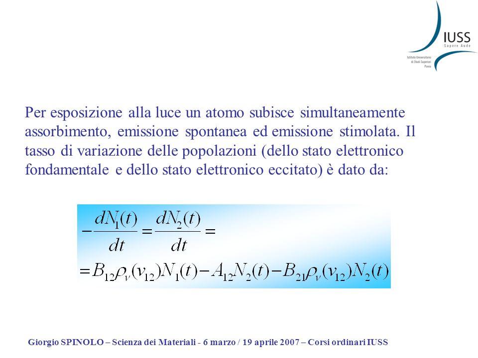 Giorgio SPINOLO – Scienza dei Materiali - 6 marzo / 19 aprile 2007 – Corsi ordinari IUSS Linversione di popolazione si raggiunge in un sistema a tre (o più) livelli Due stati eccitati con energie E 2 e E 3