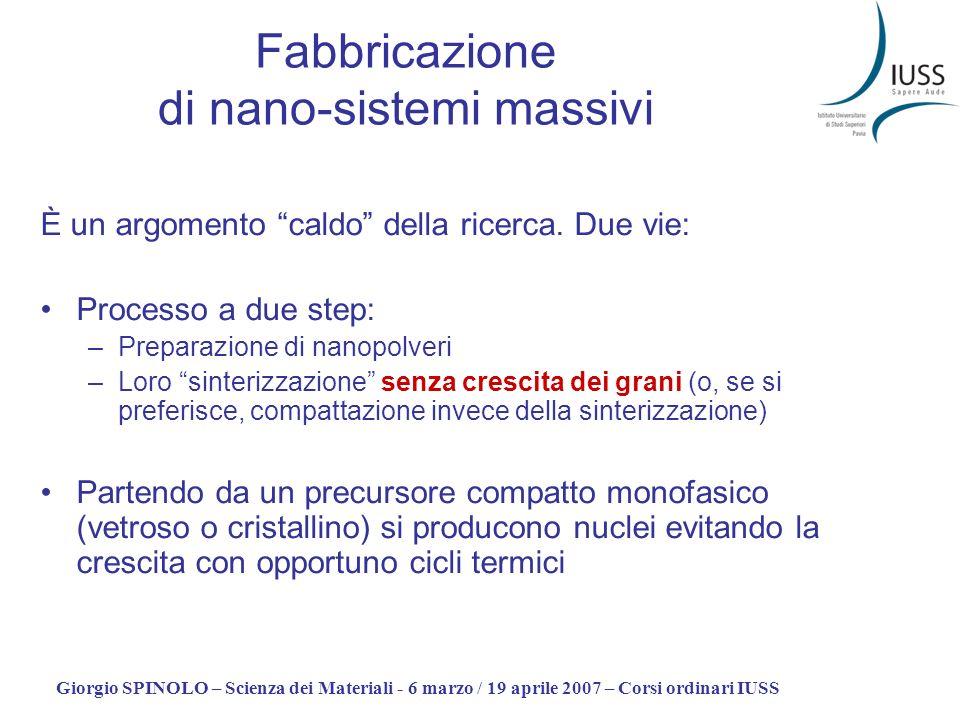 Giorgio SPINOLO – Scienza dei Materiali - 6 marzo / 19 aprile 2007 – Corsi ordinari IUSS Fabbricazione di nano-sistemi massivi È un argomento caldo de