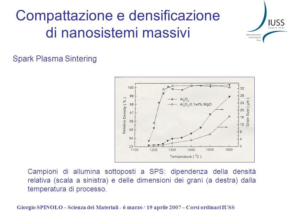 Giorgio SPINOLO – Scienza dei Materiali - 6 marzo / 19 aprile 2007 – Corsi ordinari IUSS Compattazione e densificazione di nanosistemi massivi Spark P