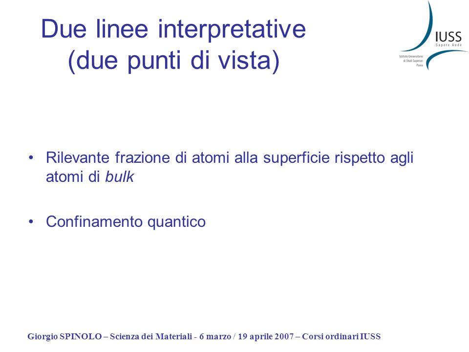 Giorgio SPINOLO – Scienza dei Materiali - 6 marzo / 19 aprile 2007 – Corsi ordinari IUSS Due linee interpretative (due punti di vista) Rilevante frazi