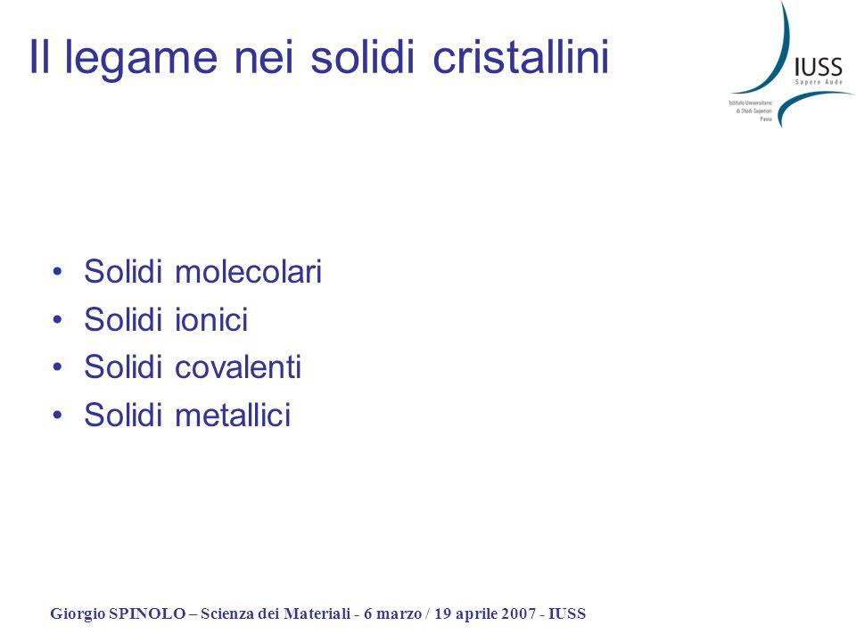 Giorgio SPINOLO – Scienza dei Materiali - 6 marzo / 19 aprile 2007 - IUSS Il legame nei solidi cristallini Solidi molecolari Solidi ionici Solidi cova