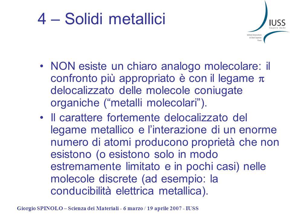 Giorgio SPINOLO – Scienza dei Materiali - 6 marzo / 19 aprile 2007 - IUSS 4 – Solidi metallici NON esiste un chiaro analogo molecolare: il confronto p