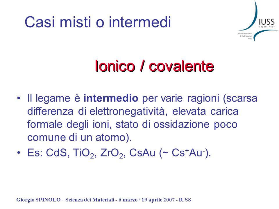 Giorgio SPINOLO – Scienza dei Materiali - 6 marzo / 19 aprile 2007 - IUSS Casi misti o intermedi Il legame è intermedio per varie ragioni (scarsa diff