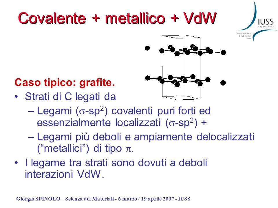 Giorgio SPINOLO – Scienza dei Materiali - 6 marzo / 19 aprile 2007 - IUSS Caso tipico: grafite. Strati di C legati da –Legami ( -sp 2 ) covalenti puri