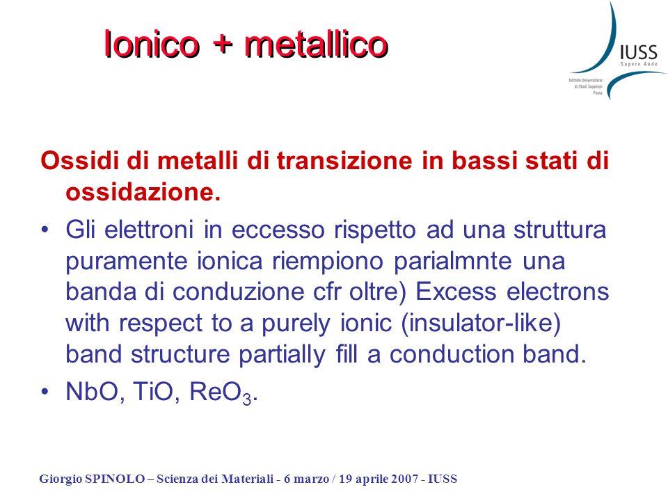 Giorgio SPINOLO – Scienza dei Materiali - 6 marzo / 19 aprile 2007 - IUSS Ossidi di metalli di transizione in bassi stati di ossidazione. Gli elettron