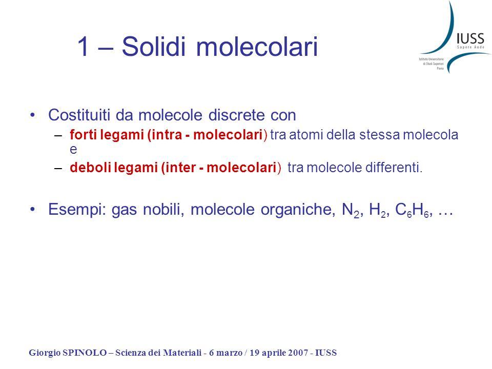Giorgio SPINOLO – Scienza dei Materiali - 6 marzo / 19 aprile 2007 - IUSS 1 – Solidi molecolari Costituiti da molecole discrete con –forti legami (int