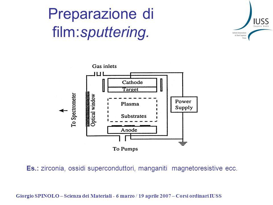 Giorgio SPINOLO – Scienza dei Materiali - 6 marzo / 19 aprile 2007 – Corsi ordinari IUSS Preparazione di film:sputtering. Es.: zirconia, ossidi superc