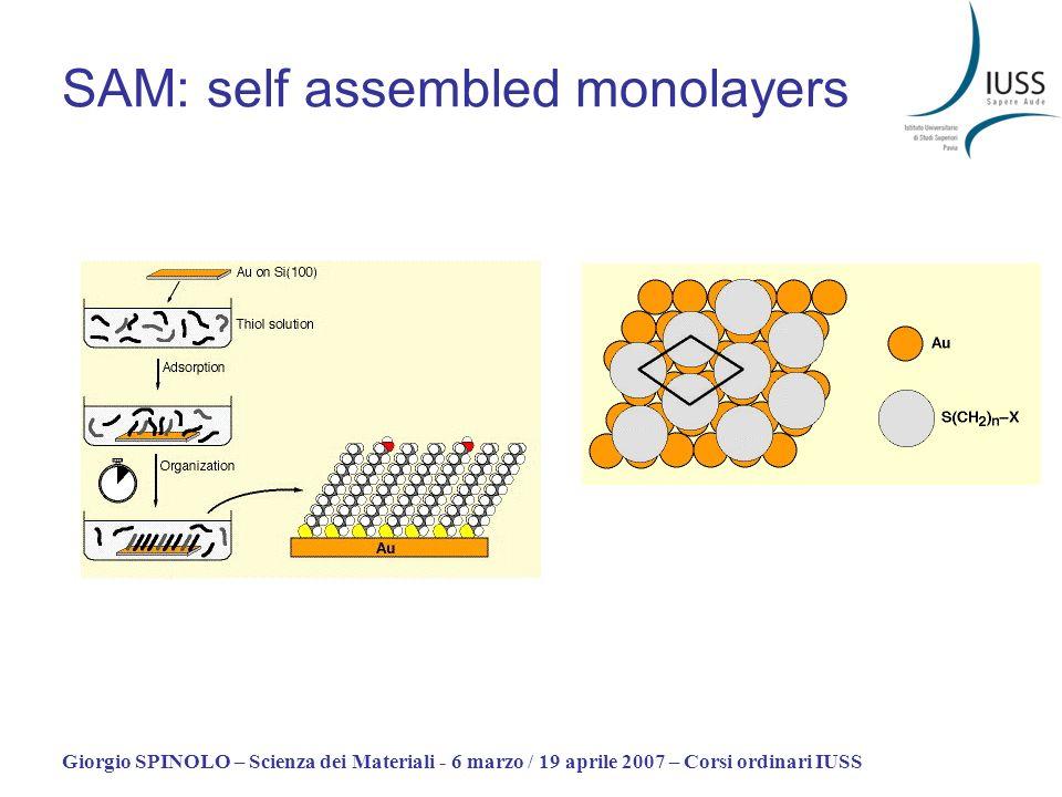 Giorgio SPINOLO – Scienza dei Materiali - 6 marzo / 19 aprile 2007 – Corsi ordinari IUSS SAM: self assembled monolayers