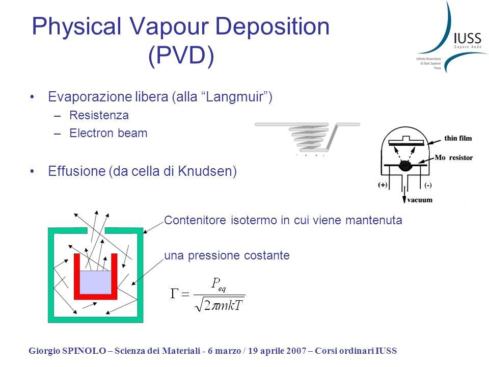 Giorgio SPINOLO – Scienza dei Materiali - 6 marzo / 19 aprile 2007 – Corsi ordinari IUSS Physical Vapour Deposition (PVD) Evaporazione libera (alla La