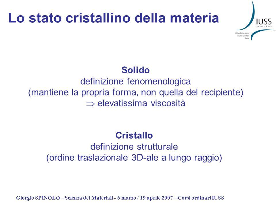 Giorgio SPINOLO – Scienza dei Materiali - 6 marzo / 19 aprile 2007 – Corsi ordinari IUSS Lo stato cristallino della materia Solido definizione fenomen