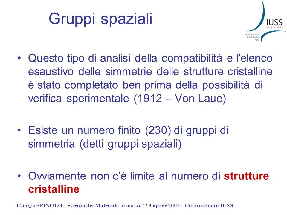 Giorgio SPINOLO – Scienza dei Materiali - 6 marzo / 19 aprile 2007 – Corsi ordinari IUSS Gruppi spaziali Questo tipo di analisi della compatibilità e