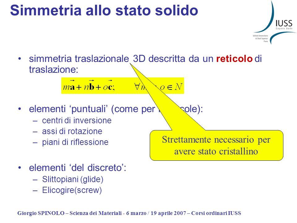 Giorgio SPINOLO – Scienza dei Materiali - 6 marzo / 19 aprile 2007 – Corsi ordinari IUSS Simmetria allo stato solido Linsieme delle varie operazioni di simmetria deve essere compatibile.