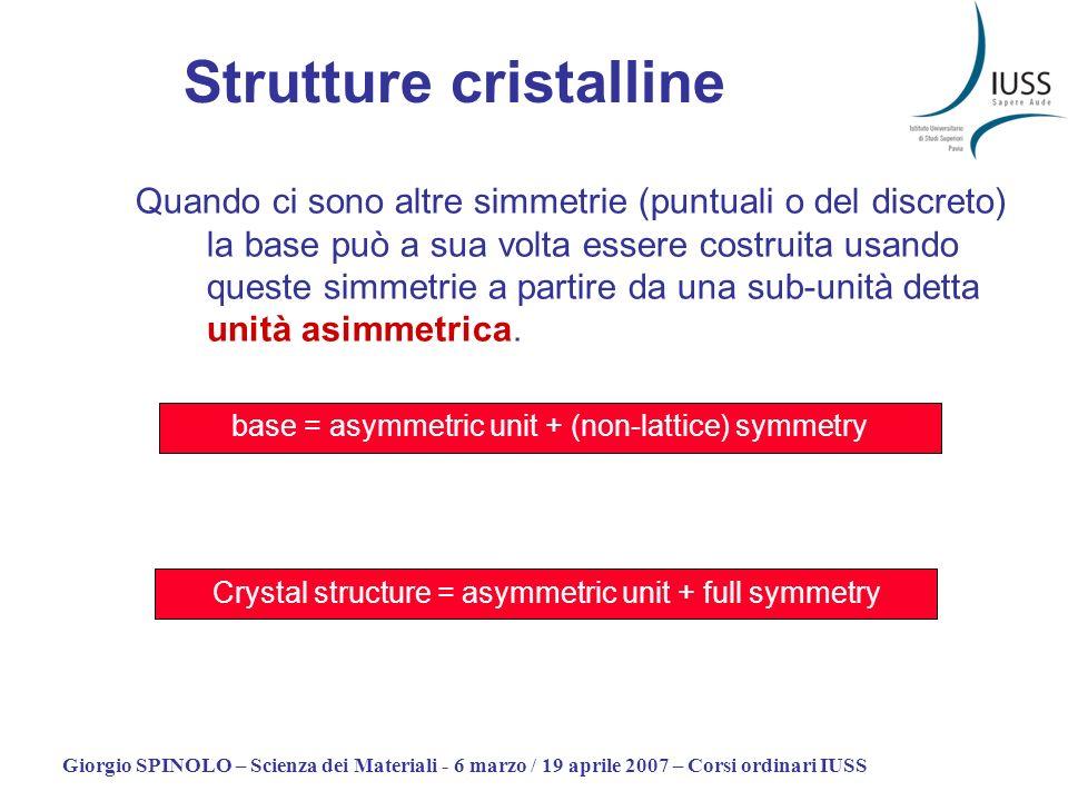 Giorgio SPINOLO – Scienza dei Materiali - 6 marzo / 19 aprile 2007 – Corsi ordinari IUSS Quando ci sono altre simmetrie (puntuali o del discreto) la b
