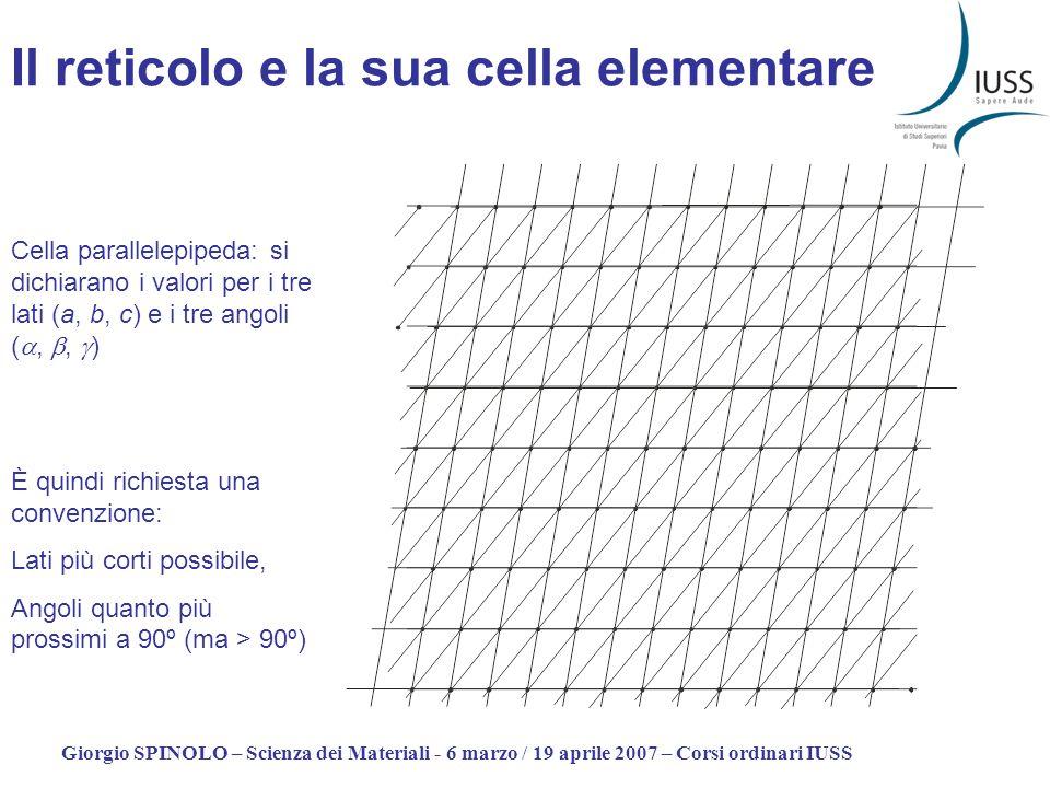 Giorgio SPINOLO – Scienza dei Materiali - 6 marzo / 19 aprile 2007 – Corsi ordinari IUSS Il reticolo e la sua cella elementare È quindi richiesta una
