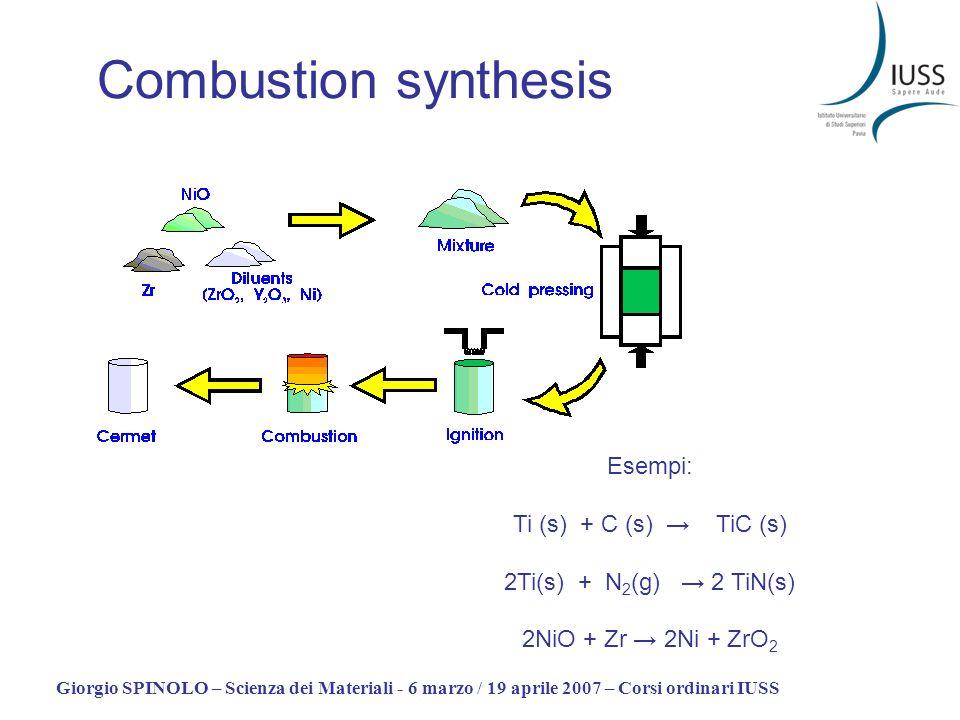 Giorgio SPINOLO – Scienza dei Materiali - 6 marzo / 19 aprile 2007 – Corsi ordinari IUSS Combustion synthesis Esempi: Ti (s) + C (s) TiC (s) 2Ti(s) +
