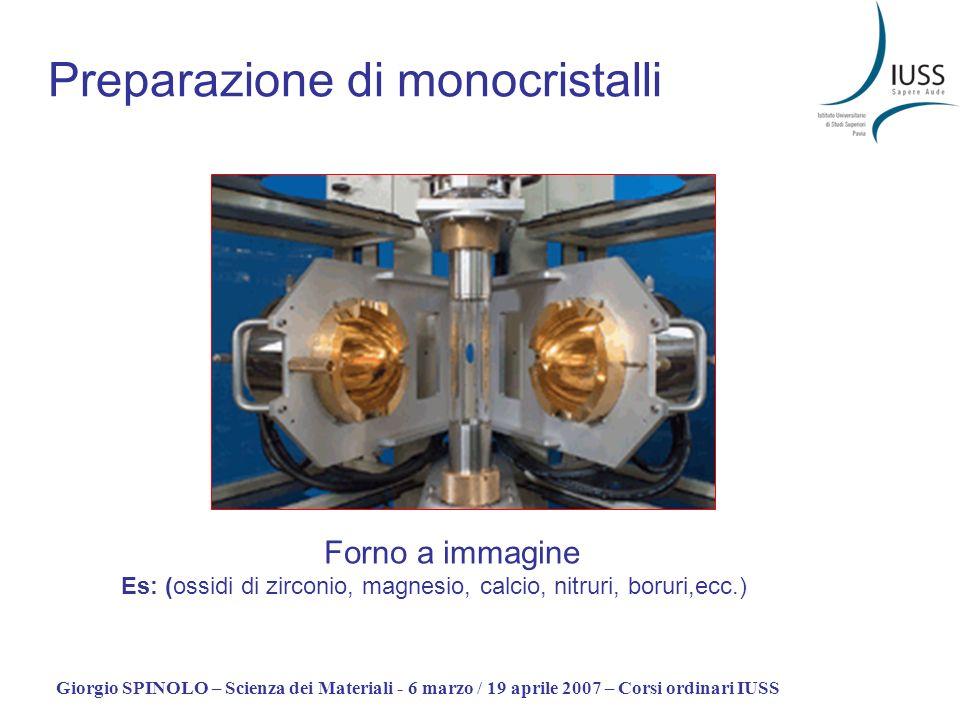 Giorgio SPINOLO – Scienza dei Materiali - 6 marzo / 19 aprile 2007 – Corsi ordinari IUSS Preparazione di monocristalli Forno a immagine Es: (ossidi di