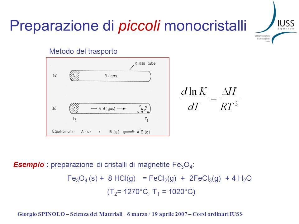 Giorgio SPINOLO – Scienza dei Materiali - 6 marzo / 19 aprile 2007 – Corsi ordinari IUSS Preparazione di piccoli monocristalli Metodo del trasporto Es