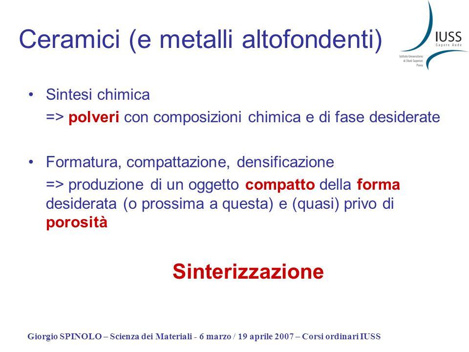 Giorgio SPINOLO – Scienza dei Materiali - 6 marzo / 19 aprile 2007 – Corsi ordinari IUSS Ceramici (e metalli altofondenti) Sintesi chimica => polveri