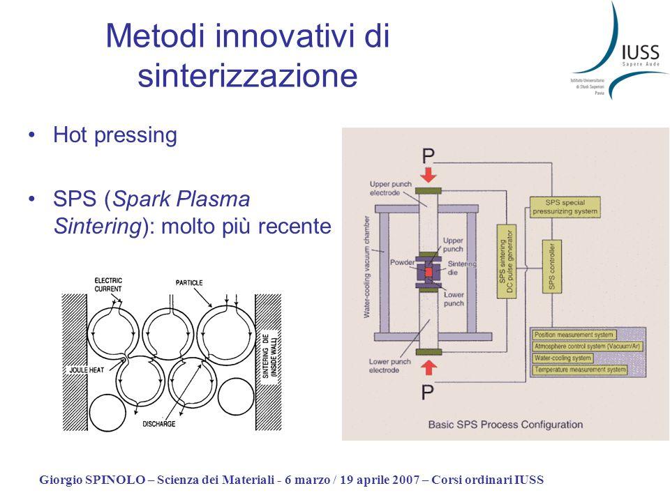 Giorgio SPINOLO – Scienza dei Materiali - 6 marzo / 19 aprile 2007 – Corsi ordinari IUSS Metodi innovativi di sinterizzazione Hot pressing SPS (Spark