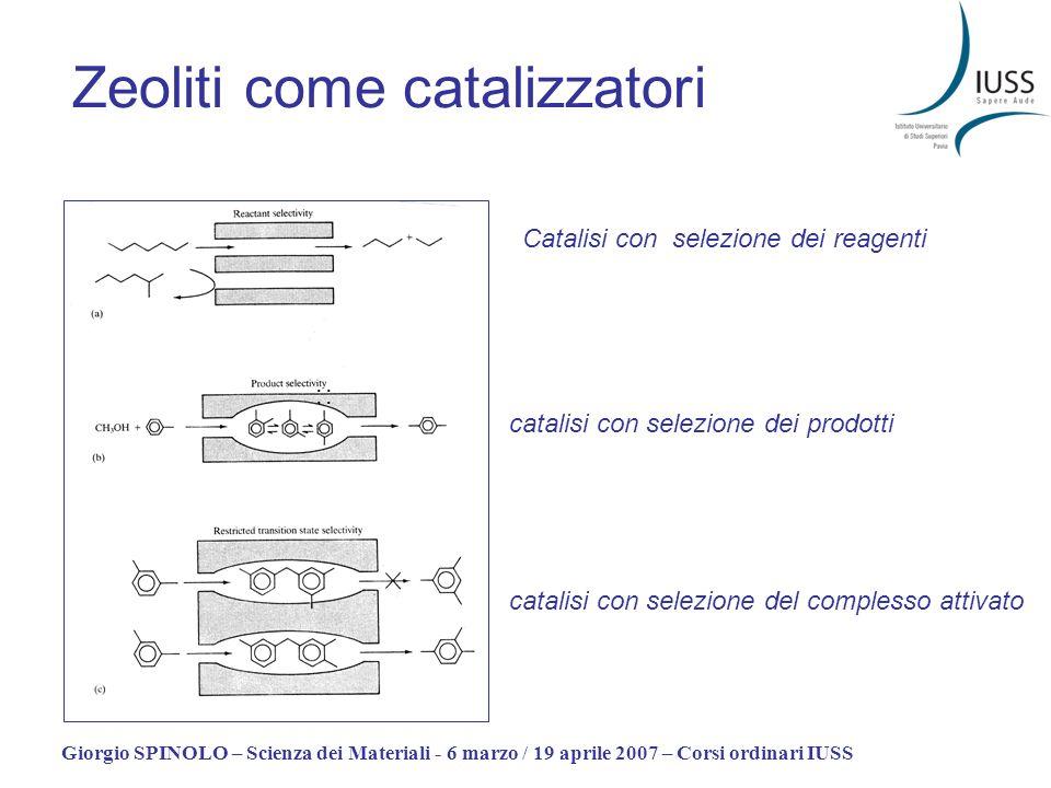Giorgio SPINOLO – Scienza dei Materiali - 6 marzo / 19 aprile 2007 – Corsi ordinari IUSS Zeoliti come catalizzatori : Catalisi con selezione dei reage