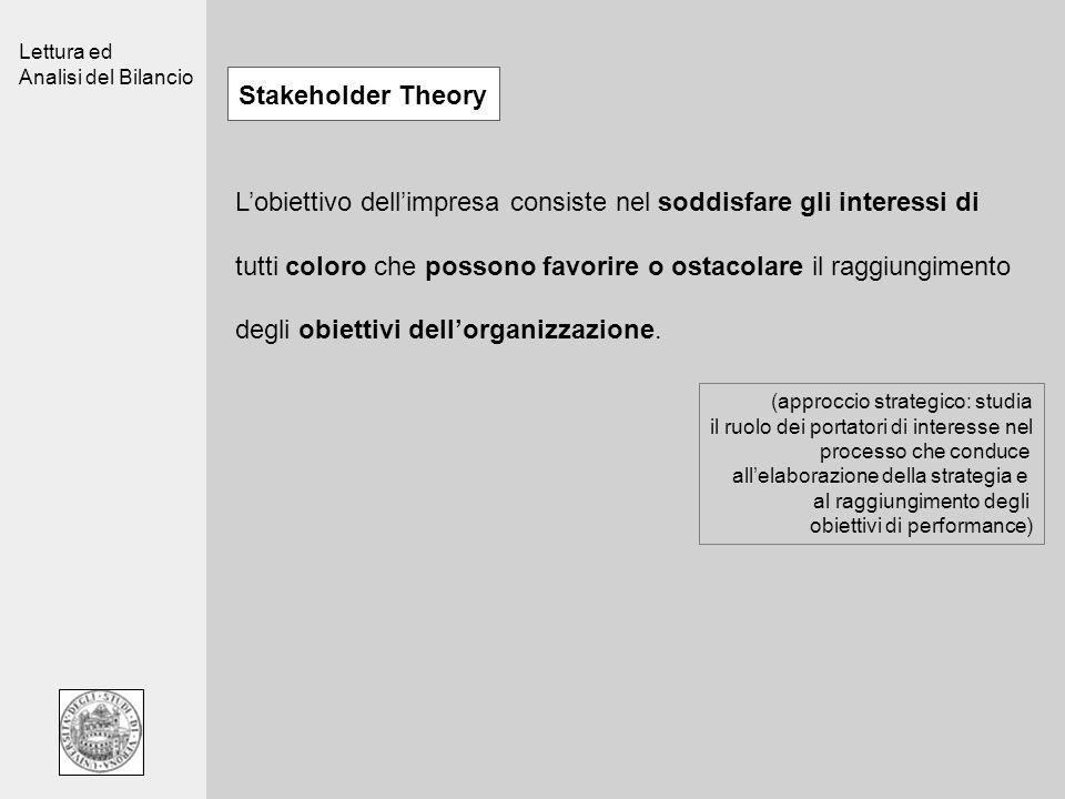 Lettura ed Analisi del Bilancio Stakeholder Theory Lobiettivo dellimpresa consiste nel soddisfare gli interessi di tutti coloro che possono favorire o ostacolare il raggiungimento degli obiettivi dellorganizzazione.