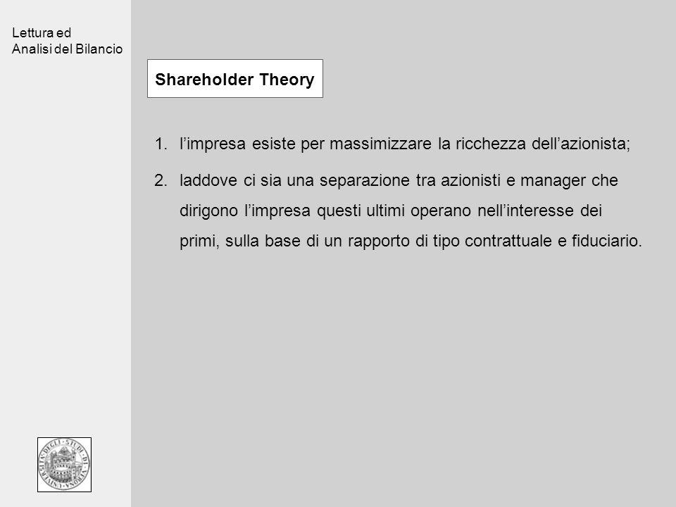 Lettura ed Analisi del Bilancio Shareholder Theory 1.limpresa esiste per massimizzare la ricchezza dellazionista; 2.laddove ci sia una separazione tra azionisti e manager che dirigono limpresa questi ultimi operano nellinteresse dei primi, sulla base di un rapporto di tipo contrattuale e fiduciario.