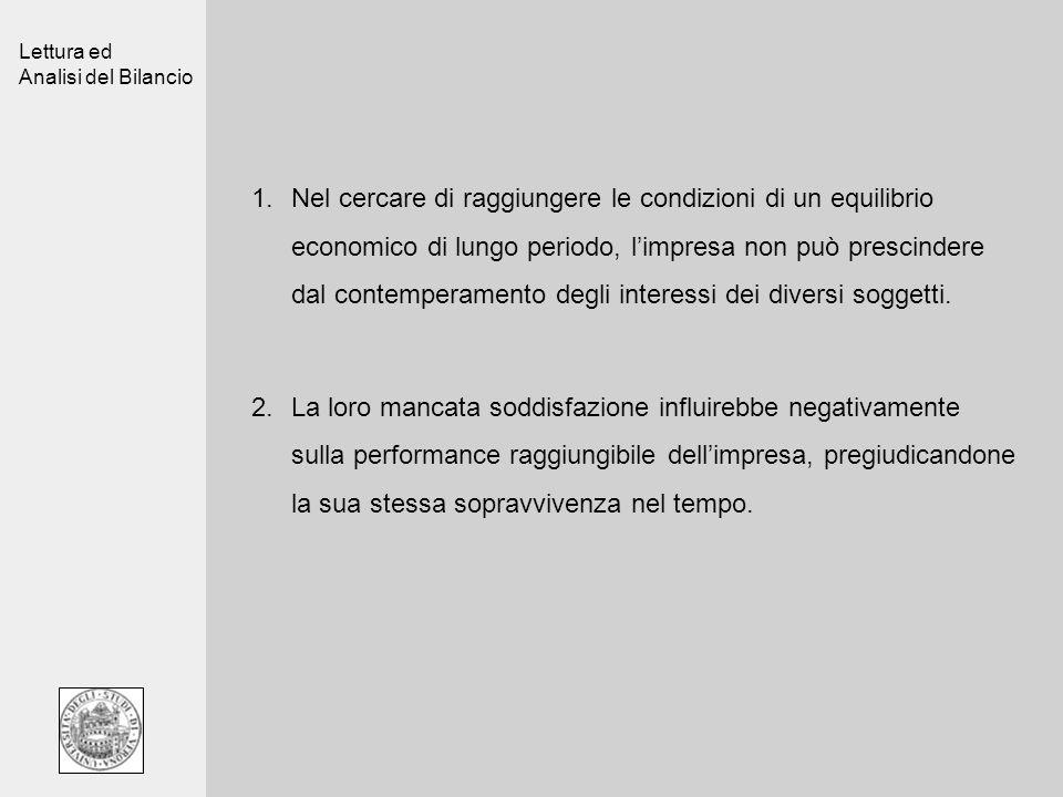 Lettura ed Analisi del Bilancio 1.Nel cercare di raggiungere le condizioni di un equilibrio economico di lungo periodo, limpresa non può prescindere dal contemperamento degli interessi dei diversi soggetti.