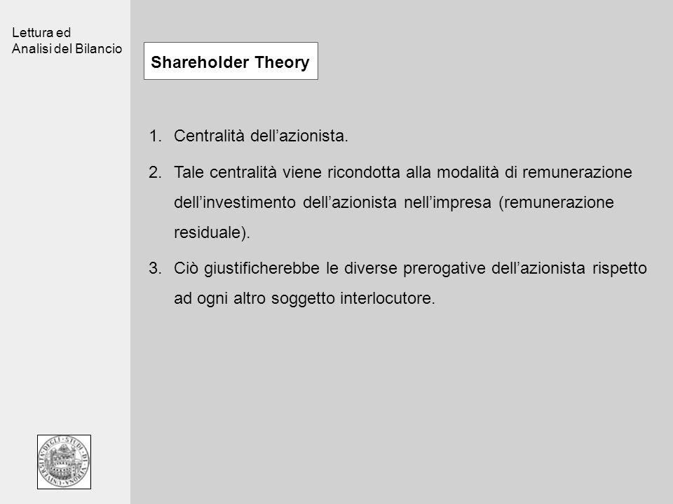 Lettura ed Analisi del Bilancio Shareholder Theory 1.Centralità dellazionista. 2.Tale centralità viene ricondotta alla modalità di remunerazione delli