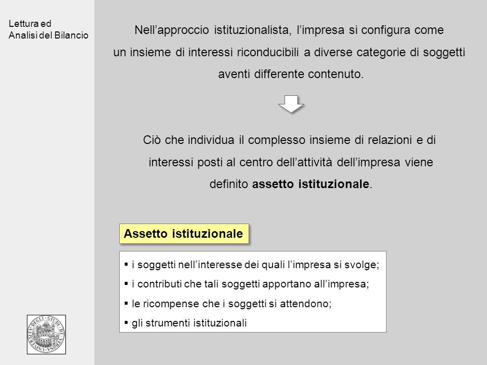 Lettura ed Analisi del Bilancio Nellapproccio istituzionalista, limpresa si configura come un insieme di interessi riconducibili a diverse categorie d