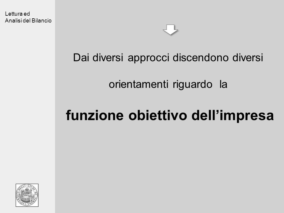 Lettura ed Analisi del Bilancio Dai diversi approcci discendono diversi orientamenti riguardo la funzione obiettivo dellimpresa
