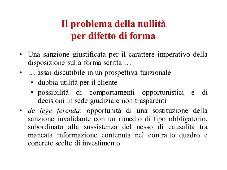 Il problema della nullità per difetto di forma Una sanzione giustificata per il carattere imperativo della disposizione sulla forma scritta … … assai