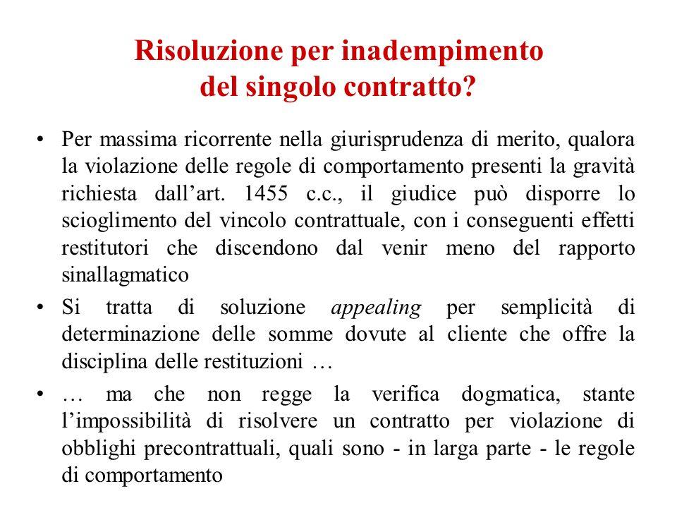 Risoluzione per inadempimento del singolo contratto? Per massima ricorrente nella giurisprudenza di merito, qualora la violazione delle regole di comp