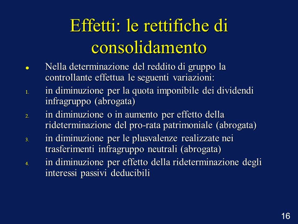 16 Effetti: le rettifiche di consolidamento Nella determinazione del reddito di gruppo la controllante effettua le seguenti variazioni: Nella determin