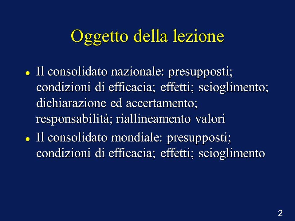 2 Oggetto della lezione Il consolidato nazionale: presupposti; condizioni di efficacia; effetti; scioglimento; dichiarazione ed accertamento; responsa